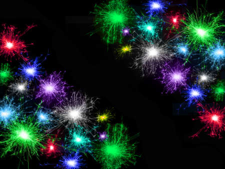 Frame of many multicolored fireworks isolated on black background. Copy space. Idea for decorating the holidays: Christmas, New Year, Anniversary, Independence Day, Birthday Stockfoto