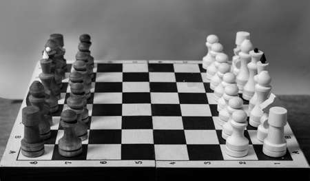 The beginning of a game of chess, pieces in a row, close-up, selective focus, black and white. Business concept start of business negotiations, business cooperation 版權商用圖片