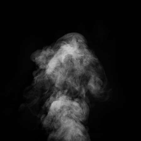 White smoke on black background. Abstract background, design element, for overlay on pictures.
