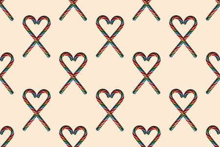 Seamless heart shapes with Christmas candies on trendy 2021 Sail Champagne background, top view. Can be used as decorative elements for Christmas and New Year, Valentine's Day.