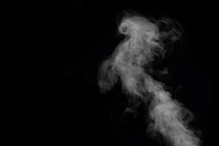 Curly smoke, smog, looks like a bird on a black background, copy space, close-up. Abstract background, design element, for overlay on pictures