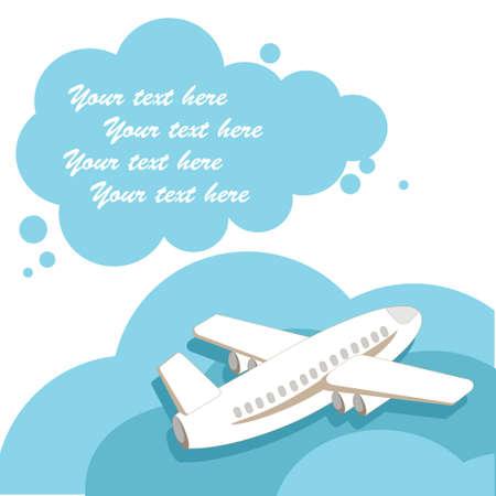 het vliegtuig met een wolk voor de tekst