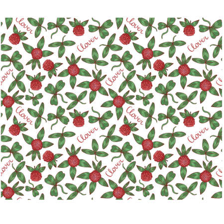 Seamless vector floral background with clover