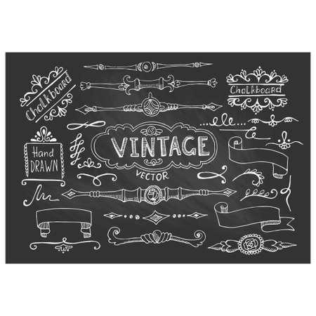 Vector Illustration of Decorative Vintage Chalkboard Elements. Ilustração