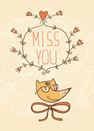 miss: Hand drawn miss you card. vector illustration. Valentines Day card