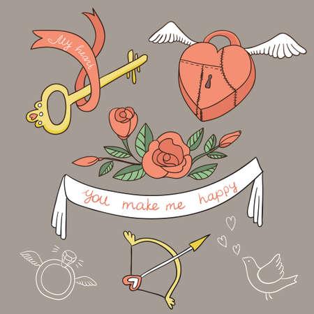 key words art: Valentine`s Day set. Vector elements.