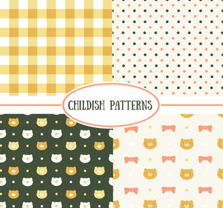 childish: Set of  retro childish vector seamless patterns Illustration
