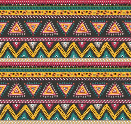indios americanos: Vector de rayas tribales patrón transparente. fondo geométrico Vectores
