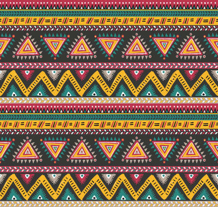 american native: Vector tribal striped seamless pattern. Geometric background