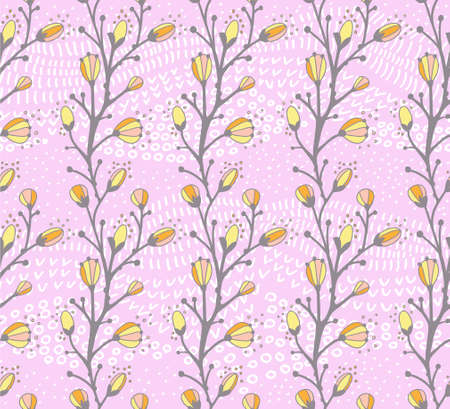 willow: Seamless spring pattern with the branch of a willow (Vector) Illustration