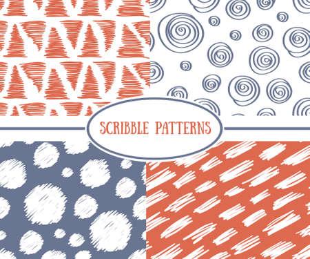 Set of stylish scrible seamless patterns.