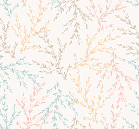 Seamless spring pattern with plants (Vector). floral stylish background