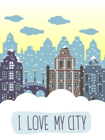 city live: I love my city decorative background. Illustration with  houses and bridge. Illustration