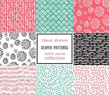ethnic festival: Set of seamless stroke patterns. Hand-drawn background. Illustration