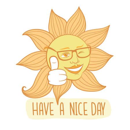 ウィンクの日。天気の良い日のベクトル カードを持っています。