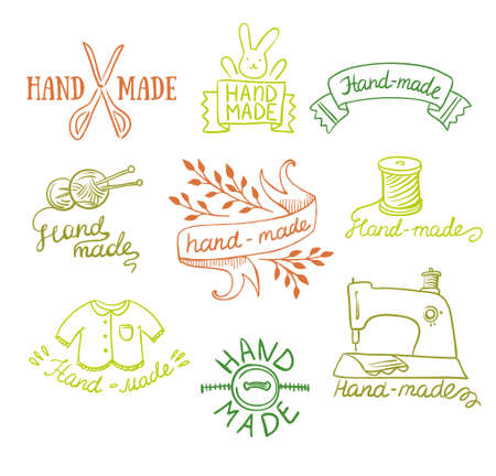 Set of vintage retro knitting badges, labels and logo elements Logo