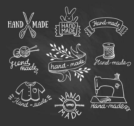 crafted: Set of vintage retro knitting badges, labels and logo elements Illustration