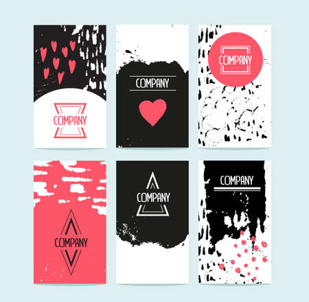Hand drawn 6 cards with trendy textures and logotypes. Business card, wedding, marriage, bridal, birthday, Valentines day. With isolated objects.
