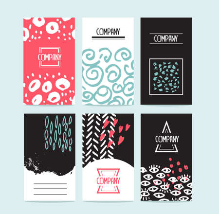 felt tip: Hand drawn 6 cards with trendy textures and logotypes. Business card, wedding, marriage, bridal, birthday, Valentines day. With isolated objects.