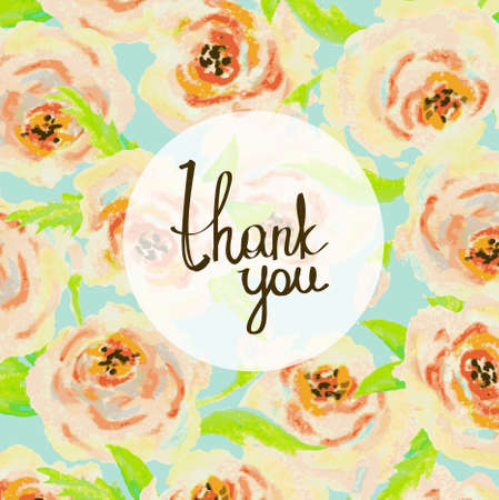 Thank you card. Floral pastel background.