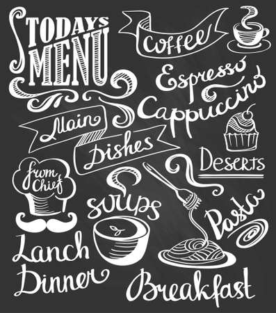 chalk drawing: hand-drawn lettering. Cake, pasta, soup, coffee. Illustration