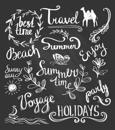 set of vector handwritten letterings and hand drawn elements for summer design