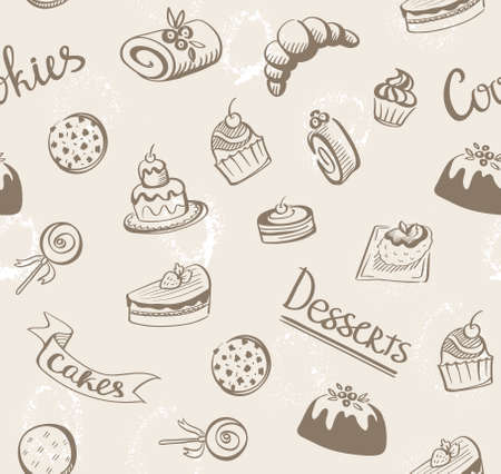 white bread: Seamless baked sweet food pattern. Cake, cookie, bread, donut background. White back.