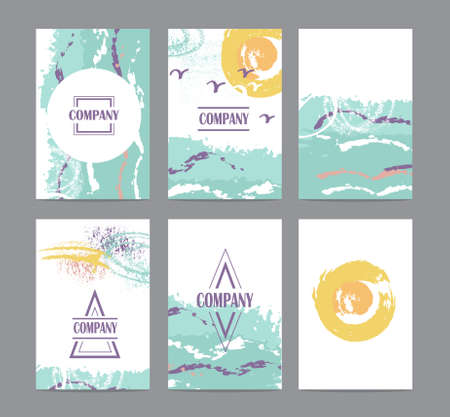 summer's: Collection of six cute universal card or invitations. Stylish simple summers  design and trendy colors Illustration