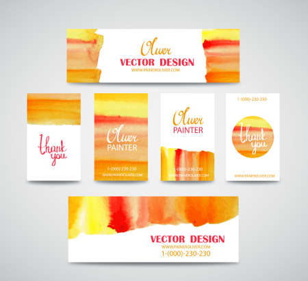 splutter: Set of watercolor business cards template and banners with hand painted brush strokes backgrounds