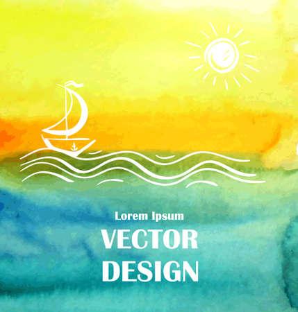 aquarelle poster mer de fond ou modèle de carte vecteur art
