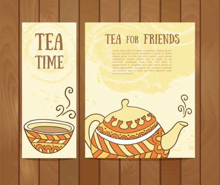 teaspoon: Set of tea vintage banners. Hand drawn sketch illustrations. Menu design backgrounds Illustration