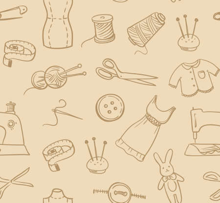 crafted: Seamless hand-made pattern. Vector background.