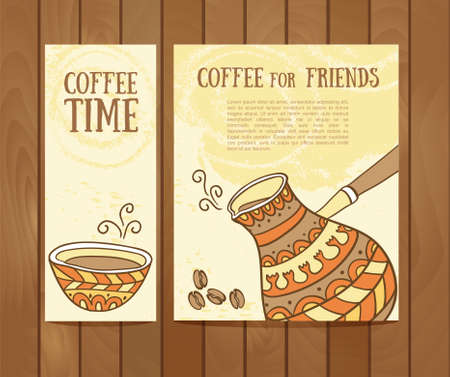 background coffee: Coffee vector banners set with hand drawn coffee for design Illustration