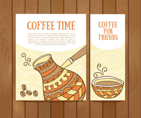 fresh brewed: Coffee vector banners set with hand drawn coffee for design Illustration