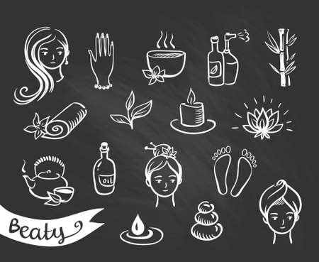 Vector Salon Spa Icon Set Isolated on the chalkboard. Illustration