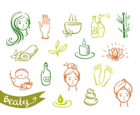 Vector Salon Spa Icon Set Isolated.