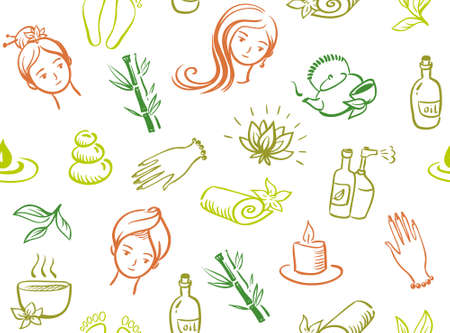 salon and spa: Vector seamless spa salon pattern Illustration