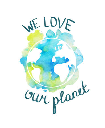 Earth day illustration with hand drawn watercolor planet.
