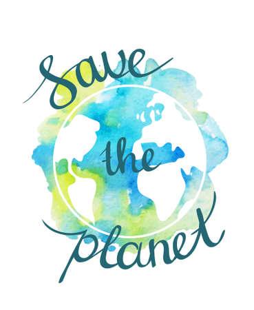 Aarde dag illustratie met hand getrokken aquarel planeet.