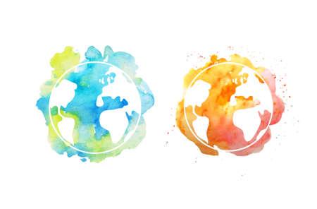 手で地球の日イラストには、水彩の惑星が描かれています。