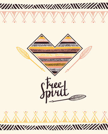 Hand drawn aztec style heart. Tribal design invitation card template. Vector illustration. 일러스트