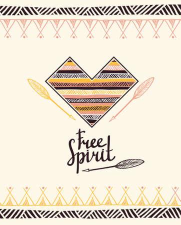 Hand drawn aztec style heart. Tribal design invitation card template. Vector illustration. Vettoriali