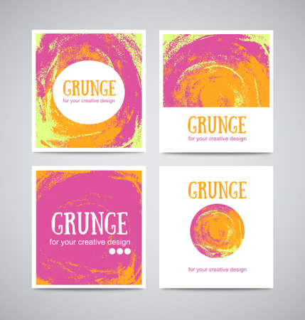 textfield: Set of watercolor business cards template and banners with hand painted grunge backgrounds. Stylish simple design and trendy colors