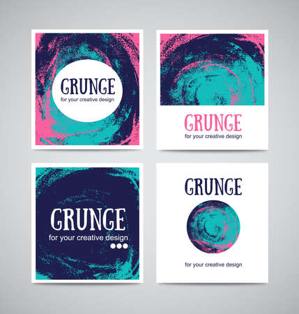 Set of watercolor business cards template and banners with hand painted grunge backgrounds. Stylish simple design and trendy colors