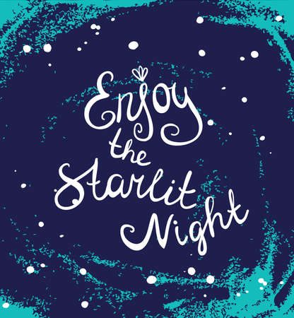 Card template with hand painted grunge background. Stylish simple design and trendy colors. Space and stars Illustration