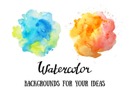 Set of abstract watercolor backgrounds. Watercolor vector clouds.