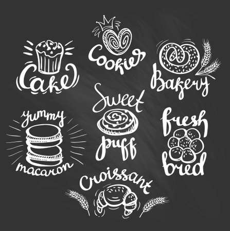 puff pastry: Set of bakery label on the chalkboard. Bakery