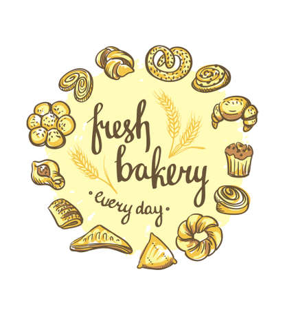 Set of bakery icons. Bread, cookies, cake, pie. Bakery background.