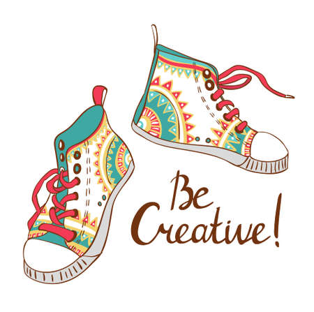 fashion sneakers. vector illustration. Be creativy card.