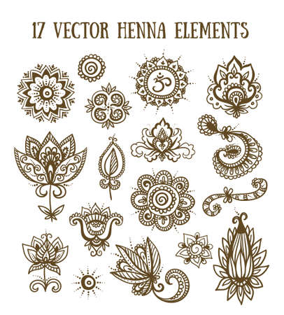 mendie: Set of henna elements based on traditional Asian elements Paisley